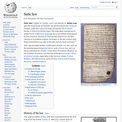 salic law Salic law of succession: salic law of succession, the rule by which, in certain sovereign dynasties, persons descended from a previous sovereign only through a woman were excluded from succession to the throne.