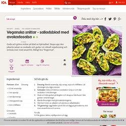 Veganska snittar - salladsblad med avokadosalsa