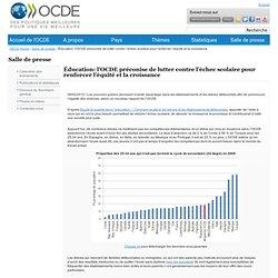 Éducation: l'OCDE préconise de lutter contre l'échec scolaire pour renforcer l'équité et la croissance