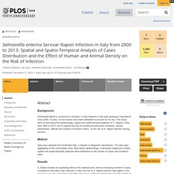 PLOS 11/11/15 Salmonella enterica Serovar Napoli Infection in Italy from 2000 to 2013: Spatial and Spatio-Temporal Analysis of Cases Distribution and the Effect of Human and Animal Density on the Risk of Infection