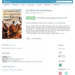 Les Mines du roi Salomon - Henry Rider Haggard