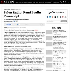Salon Radio: Remi Brulin Transcript