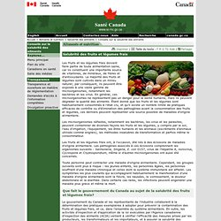 SANTE CANADA 26/01/09 Salubrité des fruits et légumes frais