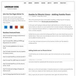 Samba In Ubuntu Linux – Adding Samba Users » Liberian Geek