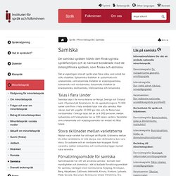 Samiska - Institutet för språk och folkminnen