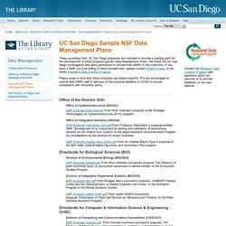 Sample NSF Data Management Plans