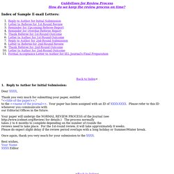 Sample E-mail Letters