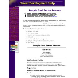 Sample resume for a server position