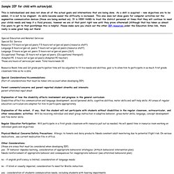 Sample IEP for child with autism/
