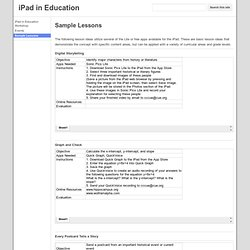 Sample Lessons - iPad in Education