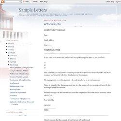 Sample Letters: Warning Letter