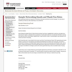 Sample Networking Emails and Thank You Notes