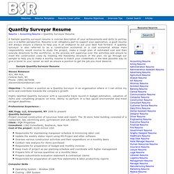 Sample Quantity Surveyor Resume, Resume for Quantity Surveyor