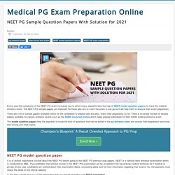 NEET PG Sample Question Papers With Solution for 2021
