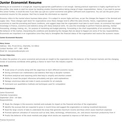 Sample Resume for Junior Economist