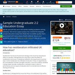 Sample Undergraduate 2:2 Education Essay