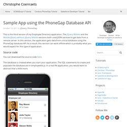 Sample App using the PhoneGap Database API