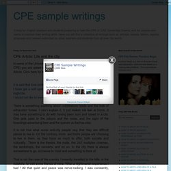 CPE sample writings: CPE Article: Life and the city