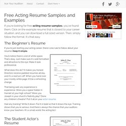 Free Acting Resume Samples and Examples
