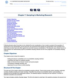 Chapter 7: Sampling In Marketing Research