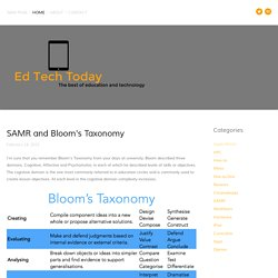 SAMR and Bloom's Taxonomy — Ed Tech Today