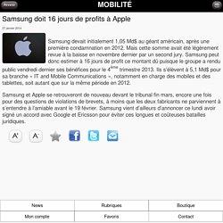 Samsung doit 16 jours de profits à Apple
