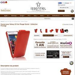 Housse etui cuir Samsung Galaxy S 2 i9100 rouge grainé fourreau ouvrant flip