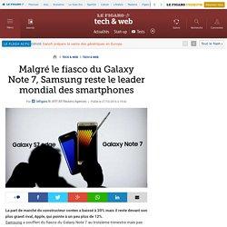 Malgré le fiasco du Galaxy Note7, Samsung reste le leader mondial des smartphones