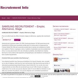 SAMSUNG RECRUTEMENT – Emploi, Alternance, Stage