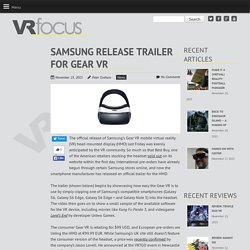Samsung Release Trailer For Gear VR