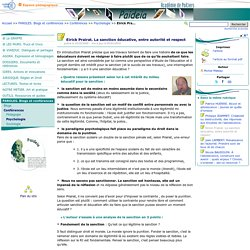 Eirick Prairat. La sanction éducative, entre autorité et respect- Paideia, le site des CPE de l'académie de Poitiers