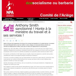 Anthony Smith sanctionné ! Honte à la ministre du travail et à ses services ! Publié samedi 15 août 2020