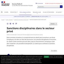 Sanctions disciplinaires dans le secteur privé