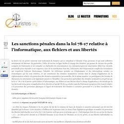 Les sanctions pénales dans la loi 78-17 relative à l'informatique, aux fichiers et aux libertés