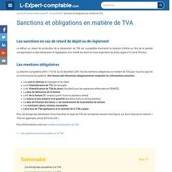 Sanctions et obligations en matière de TVA