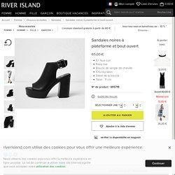 Sandales noires à plateforme et bout ouvert - Sandales - Chaussures/bottines - Femme