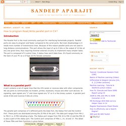 Sandeep Aparajit: How to program Read,Write parallel port in C#?
