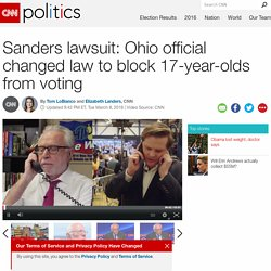 Bernie Sanders lawsuit: Ohio official changed law to block 17-year-olds from voting