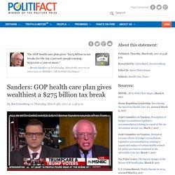 Sanders: GOP health care plan gives wealthiest a $275 billion tax break