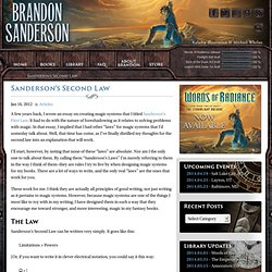 Brandon Sanderson: Sanderson's Second Law