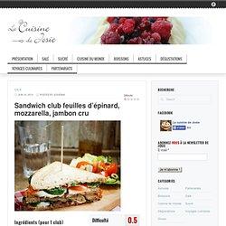 Sandwich club feuilles d'épinard, mozzarella, jambon cru