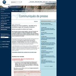 CNRS 01/02/07 Risques et crises sanitaires : résultats de la deuxième vague de l'enquête d'opinion.