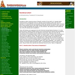 Soundarya Lahari - Works of Sankaracharya, Advaita Vedanta and Hindu Sacred Scriptures