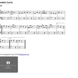 Sankta Lucia (Natten går tunga fjät) - Piano noter