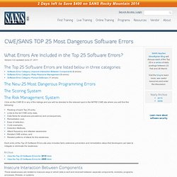 CWE/SANS TOP 25 Most Dangerous Software Errors