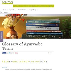 Sanskrit Glossary for Ayurvedic Terms