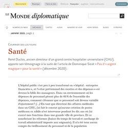 Santé (Le Monde diplomatique, janvier 2021)