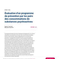 Evaluation d'un programme de prévention par les pairs des consommations de substances psychoactives