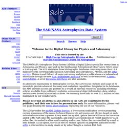 SAO/NASA ADS: ADS Home Page