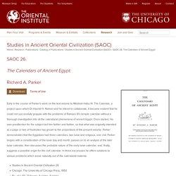 SAOC 26. The Calendars of Ancient Egypt